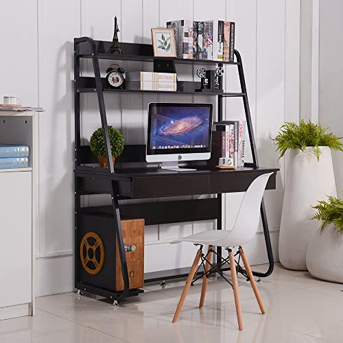 Emall Life Multi Functional Computer Desk With Bookshelf And Drawers Home Office PC Laptop Study