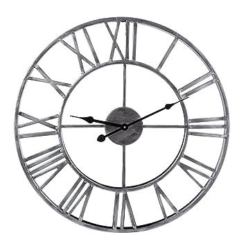 YVSoo Reloj de Pared Vintage 50cm Números Romanos Reloj Grande Retro Silencioso Reloj de Pared para Cocina, Salon, Cuarto Decoración (Plata): Amazon.es: ...