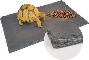 BINANO Reptile Basking Platform Tortoise/Bearded Dragon/Lizard Original Rock Slab,Easy to Grind The Nails,with Non-Slip mats,Natural Food Bowl,Moisturizing Effect