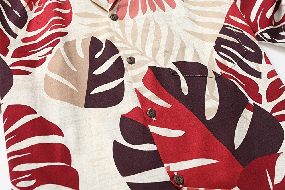 Made in Hawaii Mens Hawaiian Shirt Aloha Shirt Tropical Leaves in Red