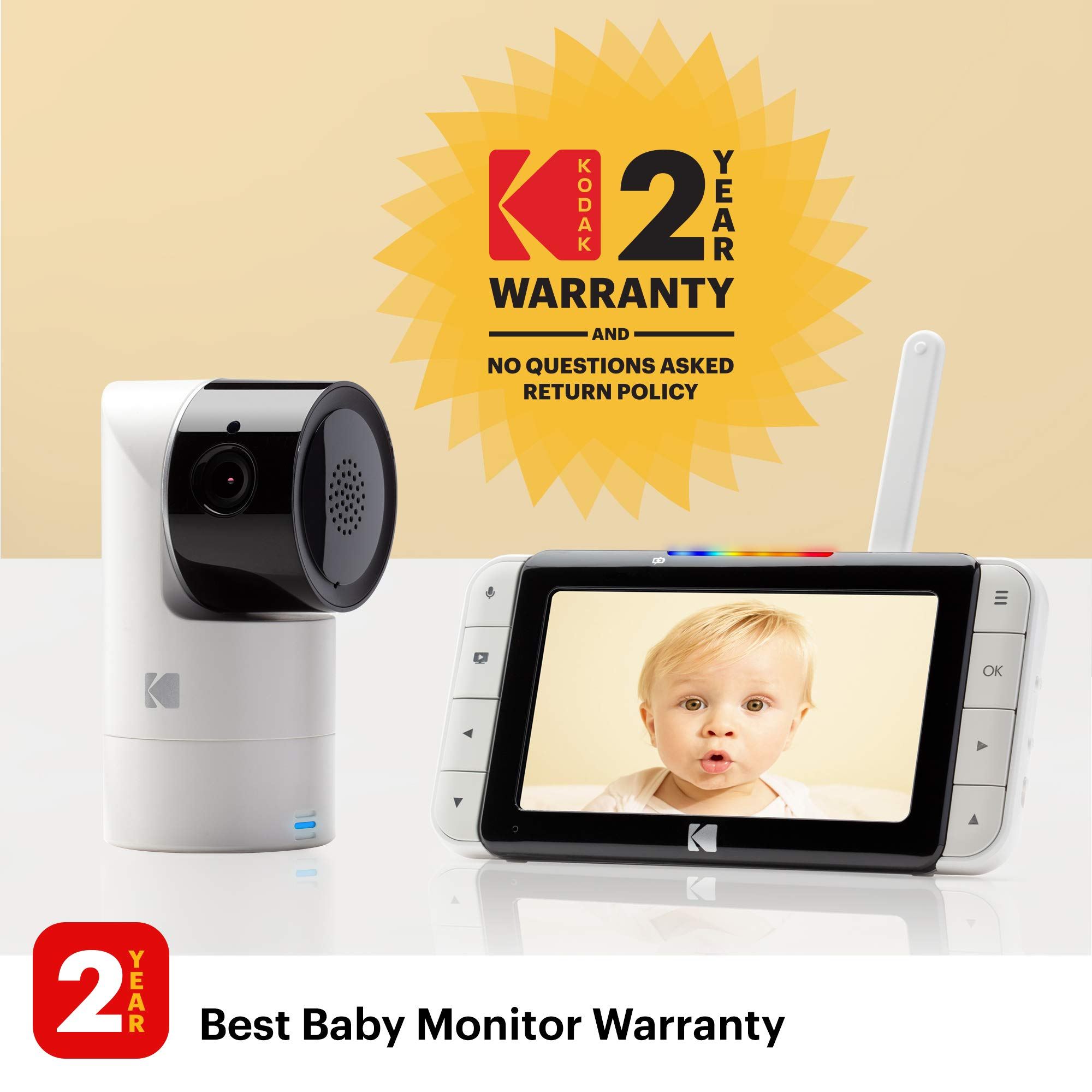 KODAK Cherish C525 Video Baby Monitor with Mobile App - 5'' HD Screen - Hi-res Baby Camera with Remote Tilt, Pan and Zoom, Two-Way Audio, Night-Vision, Long Range - WiFi Indoor Camera by Kodak (Image #3)