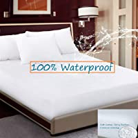 CCWB by Cotton Craft Waterproof Mattress Protector White Terry Cotton Fitted Sheet Style with Elastic Band