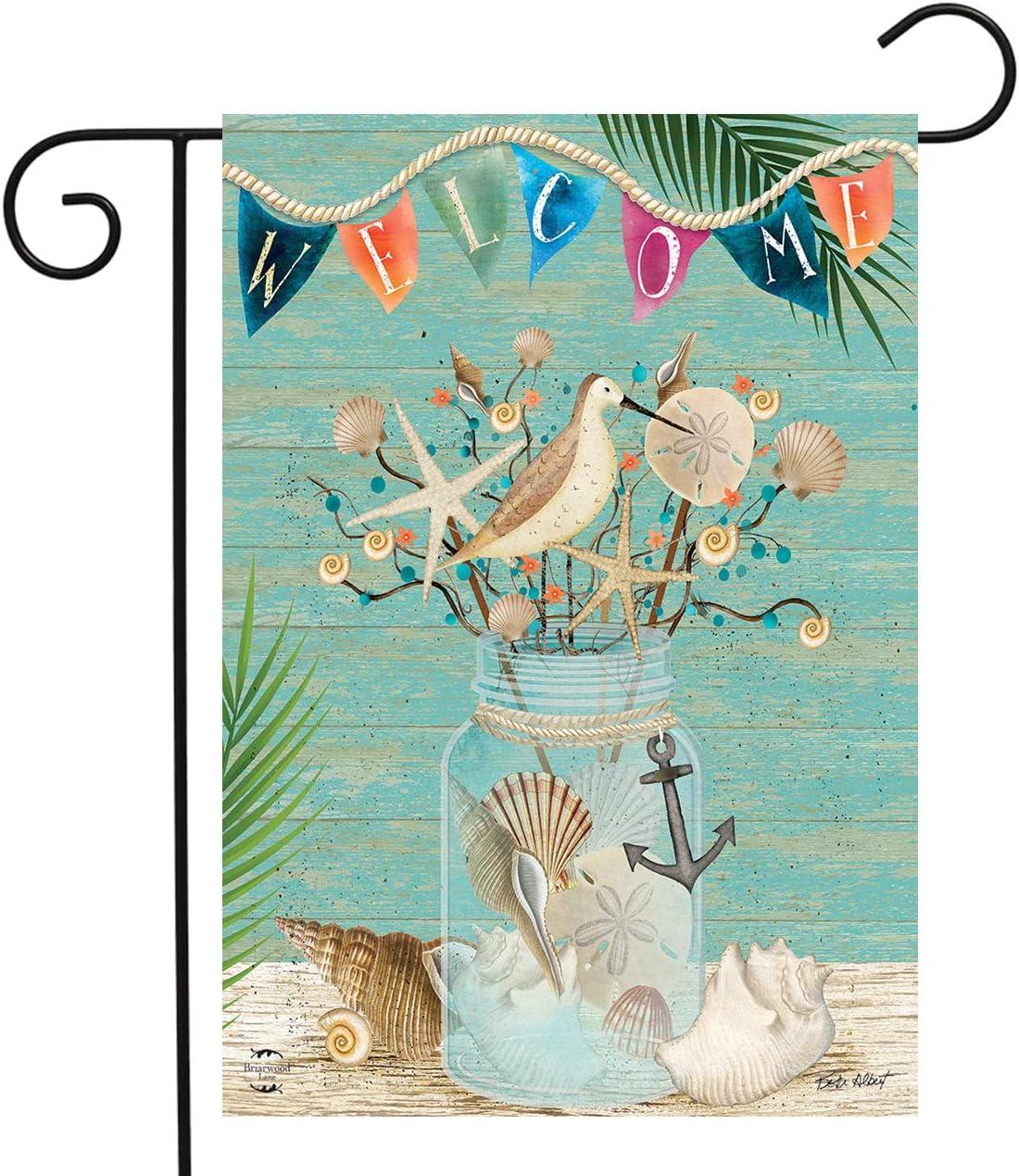 "Briarwood Lane Coastal Mason Jar Summer Garden Flag Welcome Nautical 12.5"" x 18"""