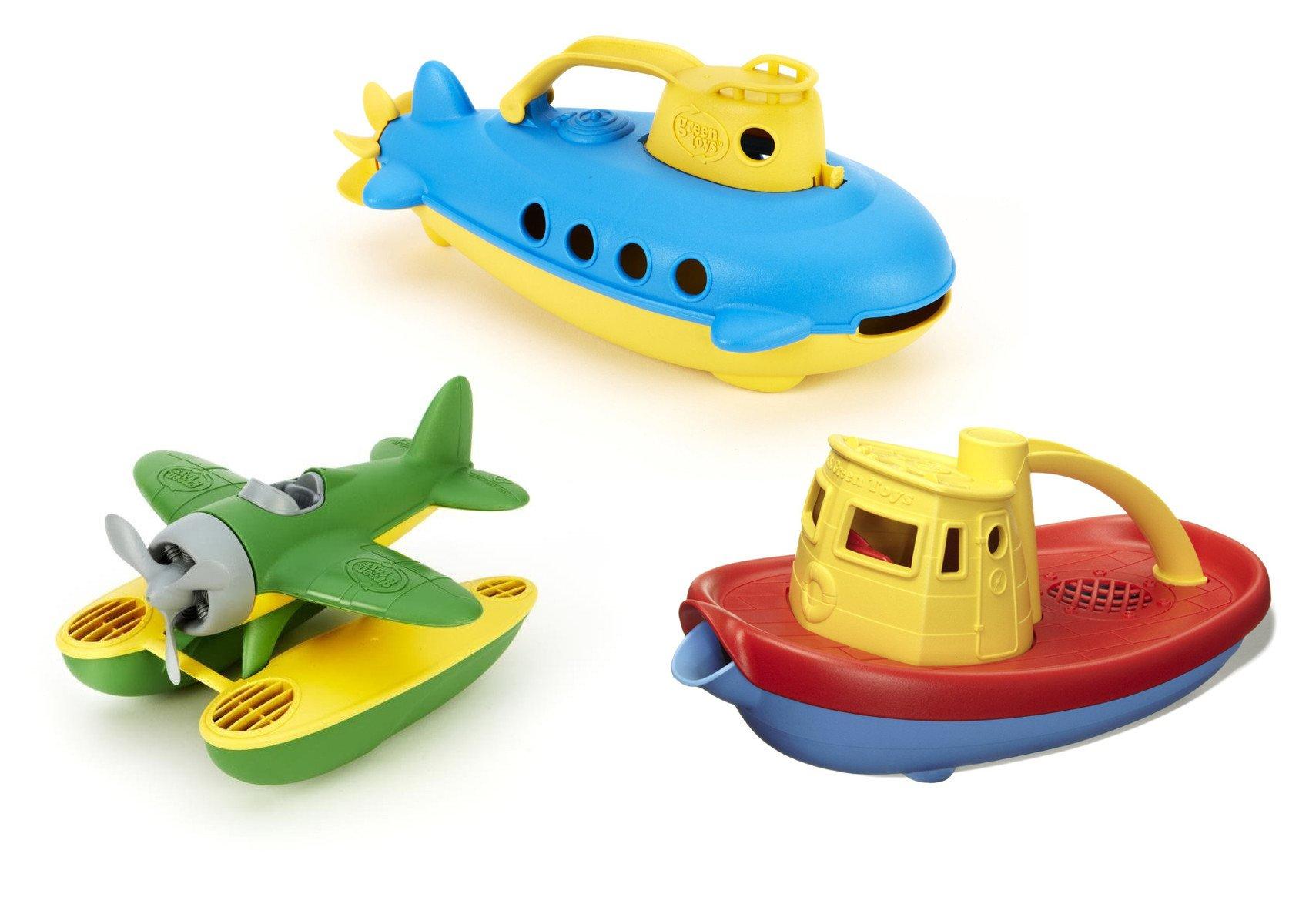 Green Toys Submarine, Seaplane & Tug Boat Bath Toy Bundle