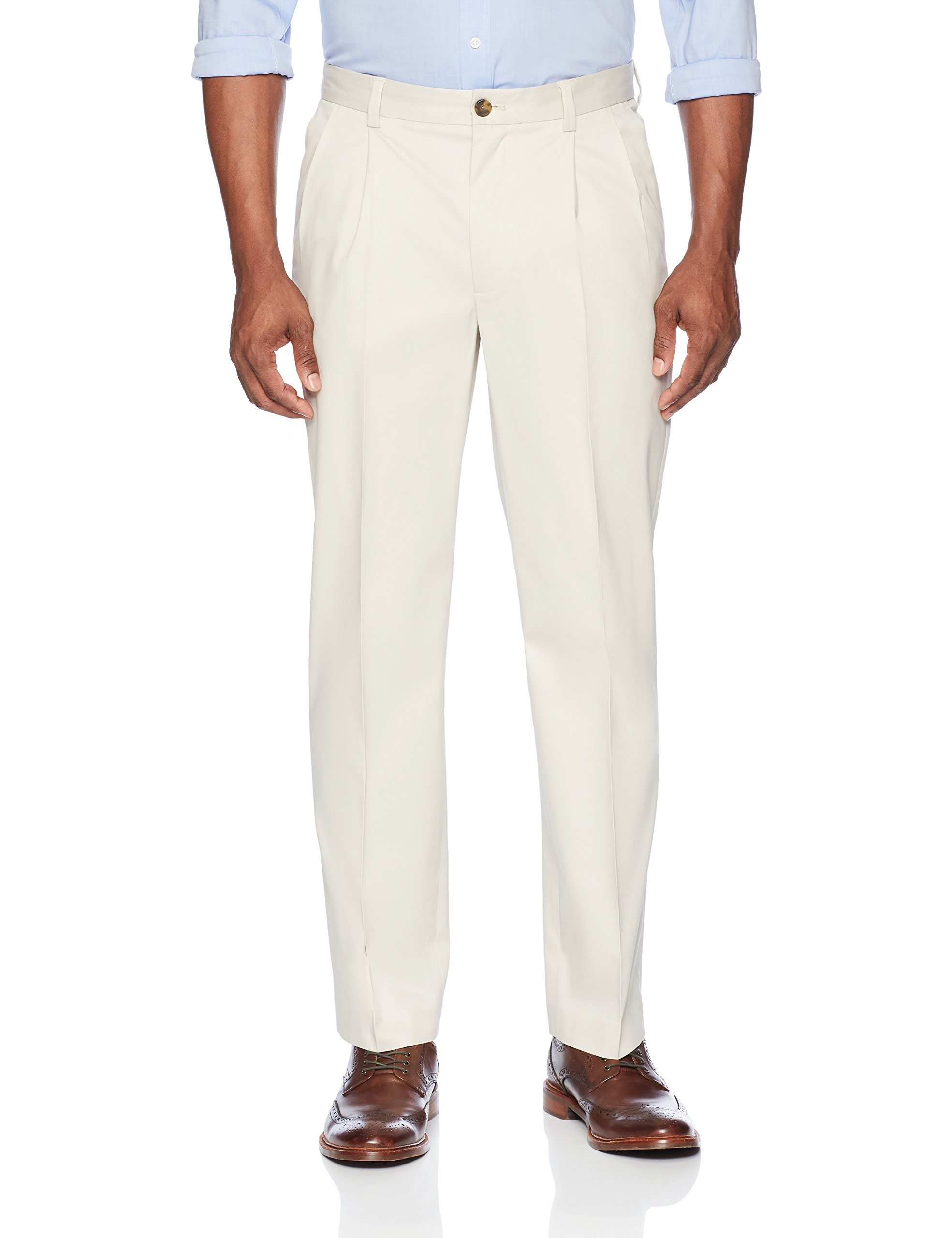 Buttoned Down Men's Relaxed Fit Pleated Stretch Non-Iron Dress Chino Pant, Stone, 33W x 30L