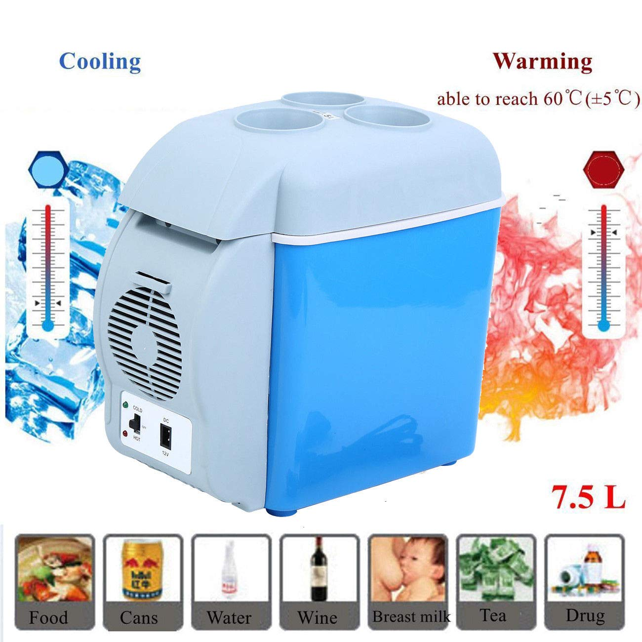 Taxi Drivers and Long-Distance Trucks Ridgeyard 7.5L Portable Mini Car Refrigerator DC 12V Fridge Electric Cooler and Warmer for Self-Driving Tour