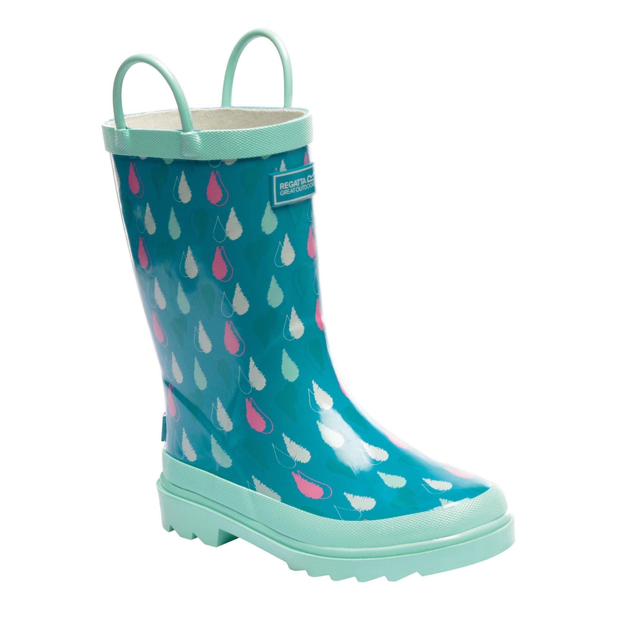 Regatta Great Outdoors Childrens/Kids Minnow Patterned Wellington Boots (US Youth 3.5) (Aqua/Mint Green)