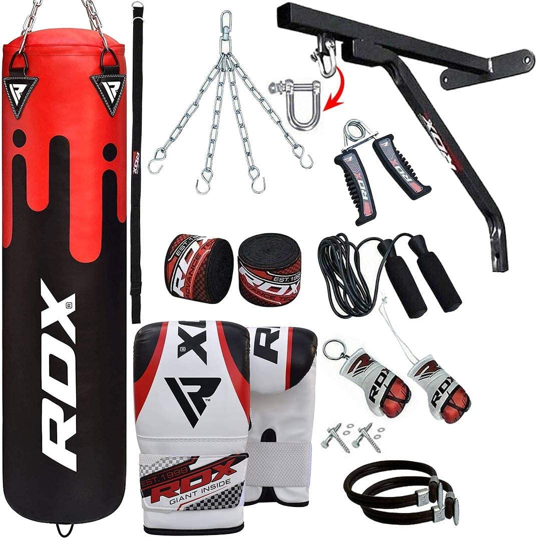RDX 17PC Punch Bag for Boxing Training,Filled Heavy Bag Set with Punching Gloves Wall Bracket,Great for Grappling Karate MMA Chain BJJ /& Taekwondo,/Muay Thai Kickboxing Comes in 4ft//5ft