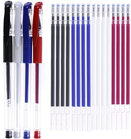 BENECREAT 10Pcs 5 Colors Heat Erasable Fabric Marking Pens with 50Pcs Refills for Quilting Sewing and Dressmaking