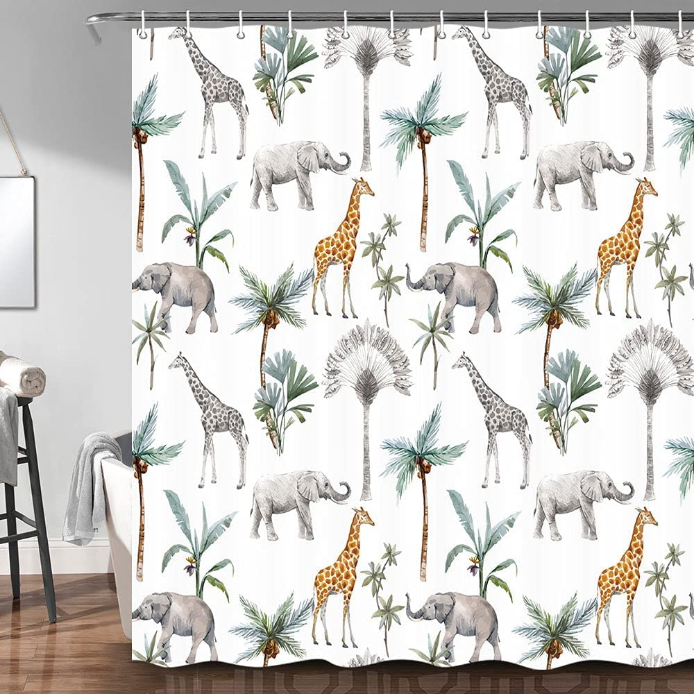 Safari Animal Shower Curtain Watercolor African Jungle Animals and Palm Tree Pattern Unisex Nursery Decor Bathroom Shower Curtain Waterproof Fabric Kids Bath Curtains with Hooks 69 x70 Inch
