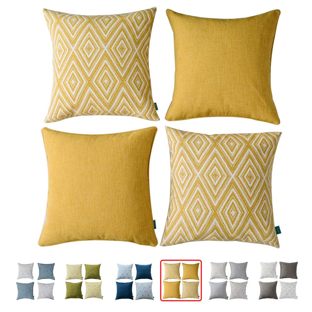 """hpuk Plaid Polyester Decorative Pillow Covers Throw Pillows Covers Couch Pillowcase Cushion Cover Couch, 17X17"""" with 4 PCS, Ochre (Golden)"""
