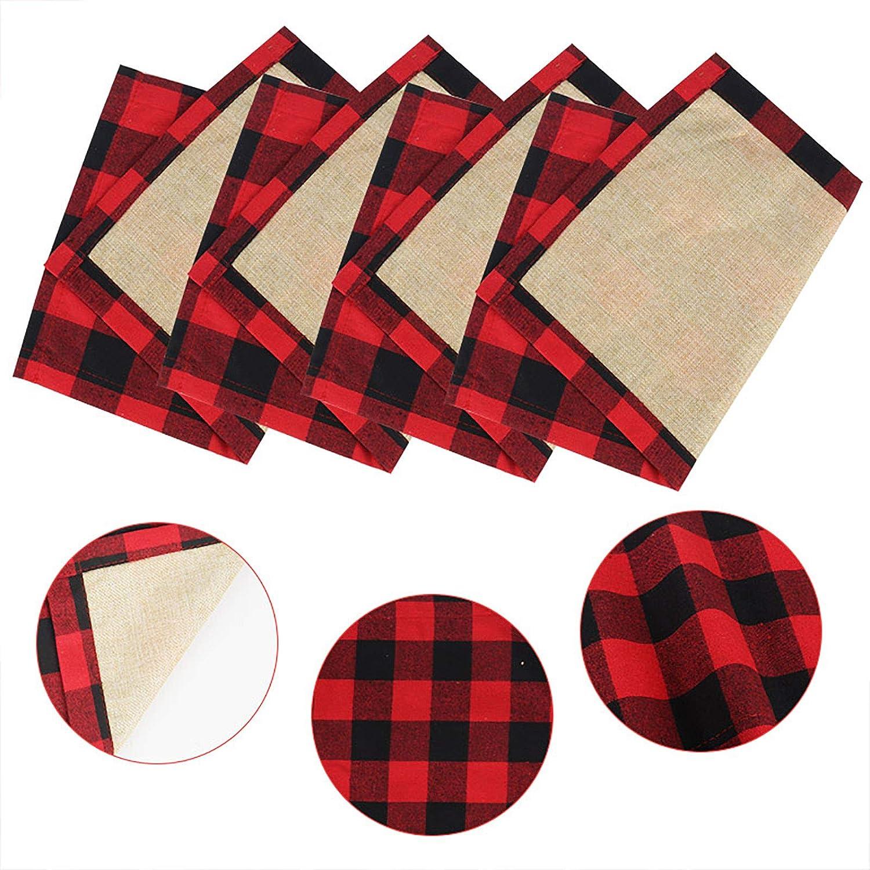 Jsdoin Servilletas navide/ñas de 4 manteles individuales de b/úfalo a cuadros lavables reversibles de algod/ón resistente a la arpillera para vacaciones decoraciones de mesa de Navidad