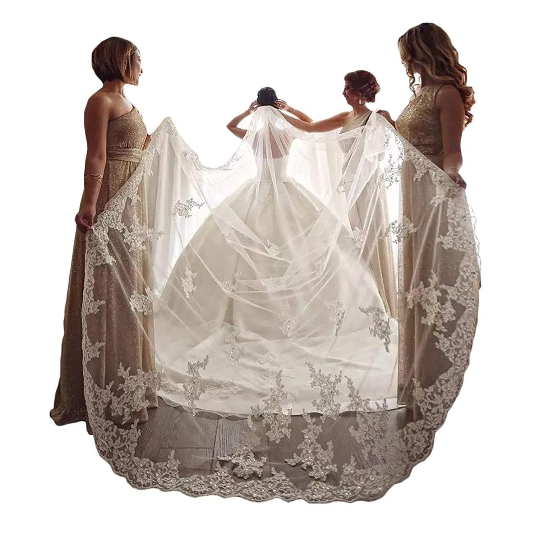yeoyaw Elegant 1 Layer Lace Sequins Beaded Edge Bridal Wedding Veil with Comb (Ivory, 4 meter)