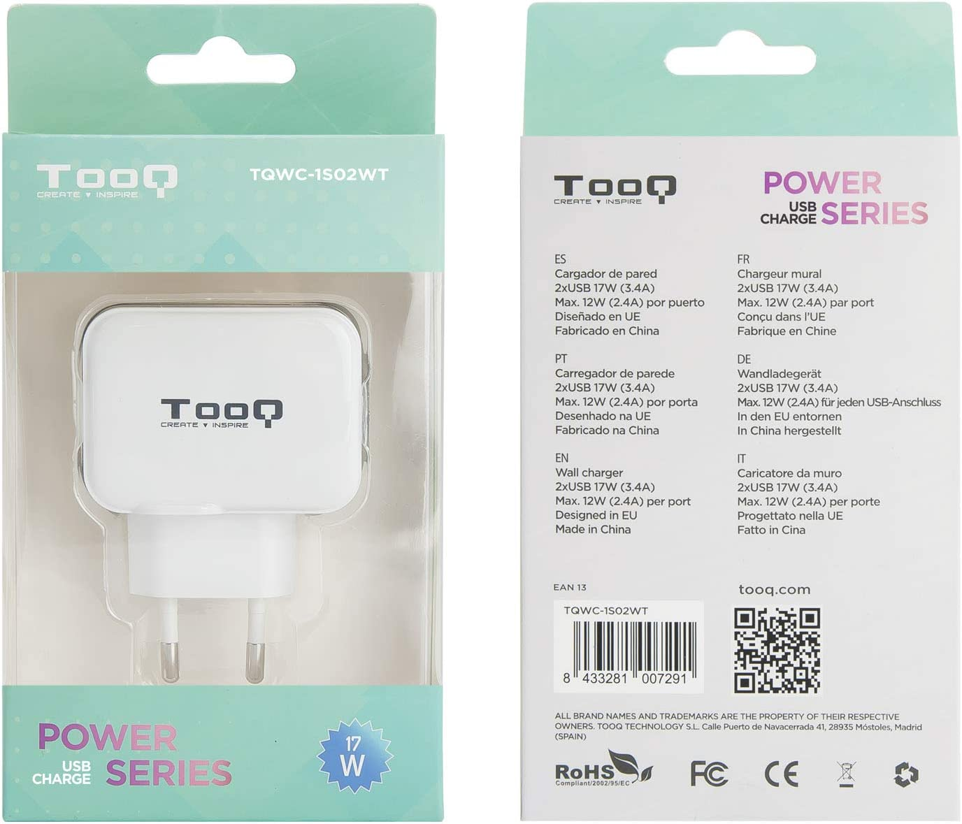 Tooq Tqwc 1s02wt Charger With 2x Usb With Airpower Computers Accessories