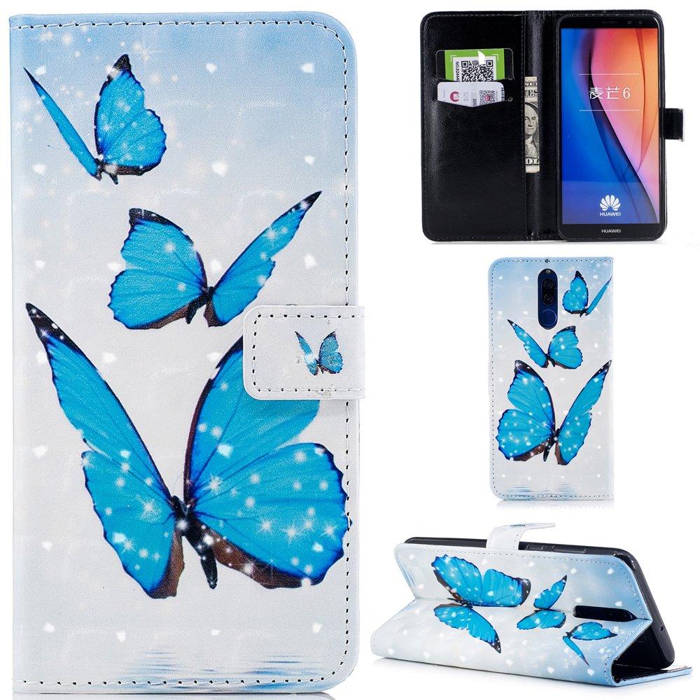 Ooboom® Huawei Mate 10 Lite Coque 3D Housse Livre Style PU Cuir Magnétique Flip Étui Cover Case Wallet Portefeuille Supporter Stand avec Carte de Crédit Fentes pour Huawei Mate 10 Lite - Attrapeur de Rêves Bleu 936105