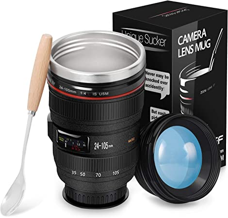 TMANGO Camera Lens Coffee Mug With Lid, Photo Coffee Cup, Stainless Steel Thermos Lens Mug Leak Proof For Photographer Lovers Present