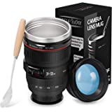 Camera Lens Coffee Mugs - Stainless Steel Travel Mug Tumbler Tea Water Bottle with Magic Sucker & Spill-Proof Lid, Fun Photographer Camera Cups, Great Gift Set for Men Women Photographer 320ml Balck