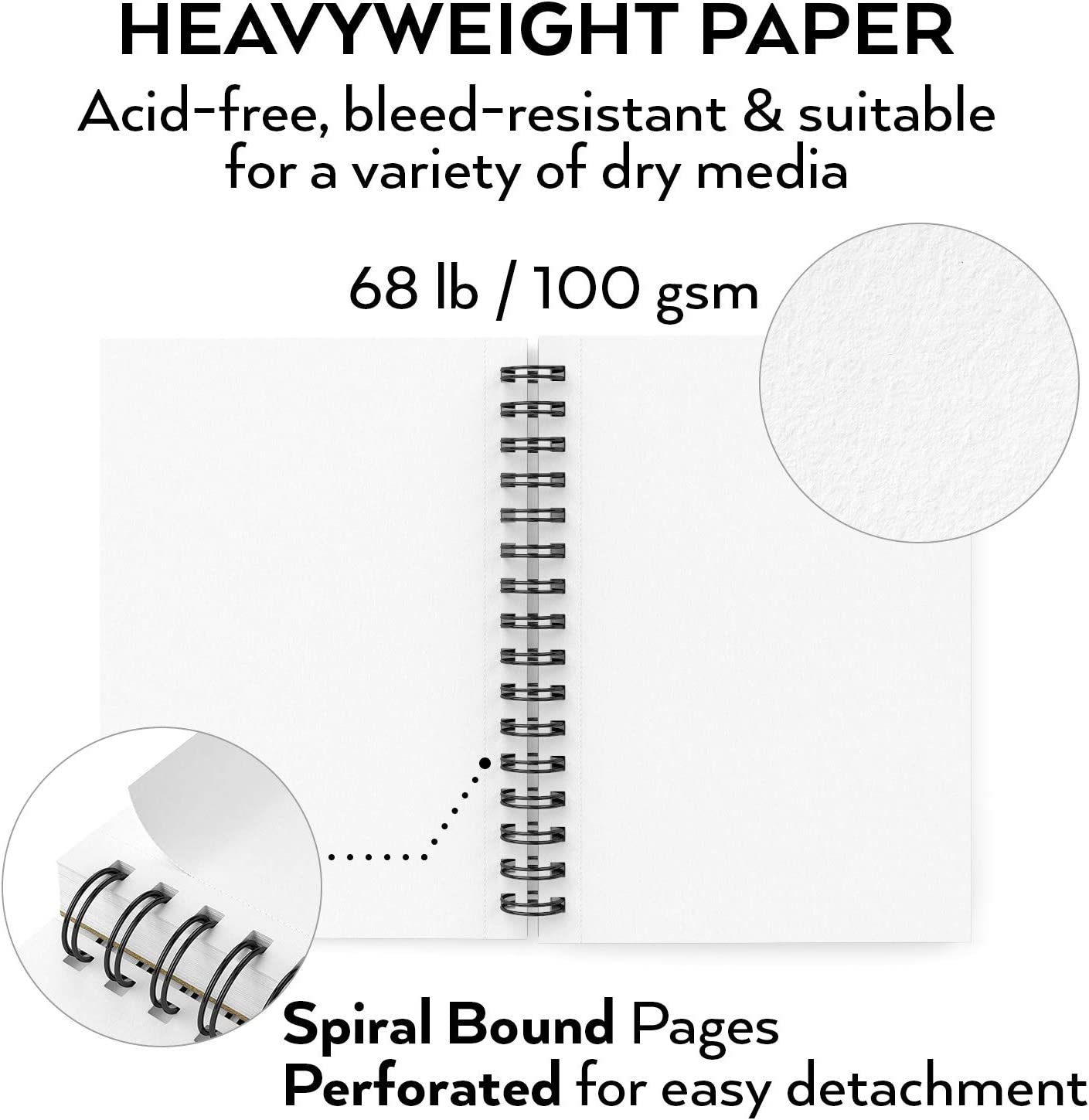 """ARTEZA 5.5X8.5/"""" Sketch Book Pack of 3 300 Sheets Spiral Bound Artist Sketch Pad Ideal for Kids /& Adults Durable Acid Free Drawing Paper 68 lb//100gsm 100 Sheets Each Bright White"""