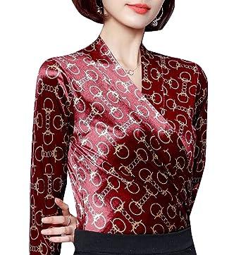 94722e5eba69a Zimaes-Women Original Fit Imitated Silk Long Sleeve Dressy Blouse at ...