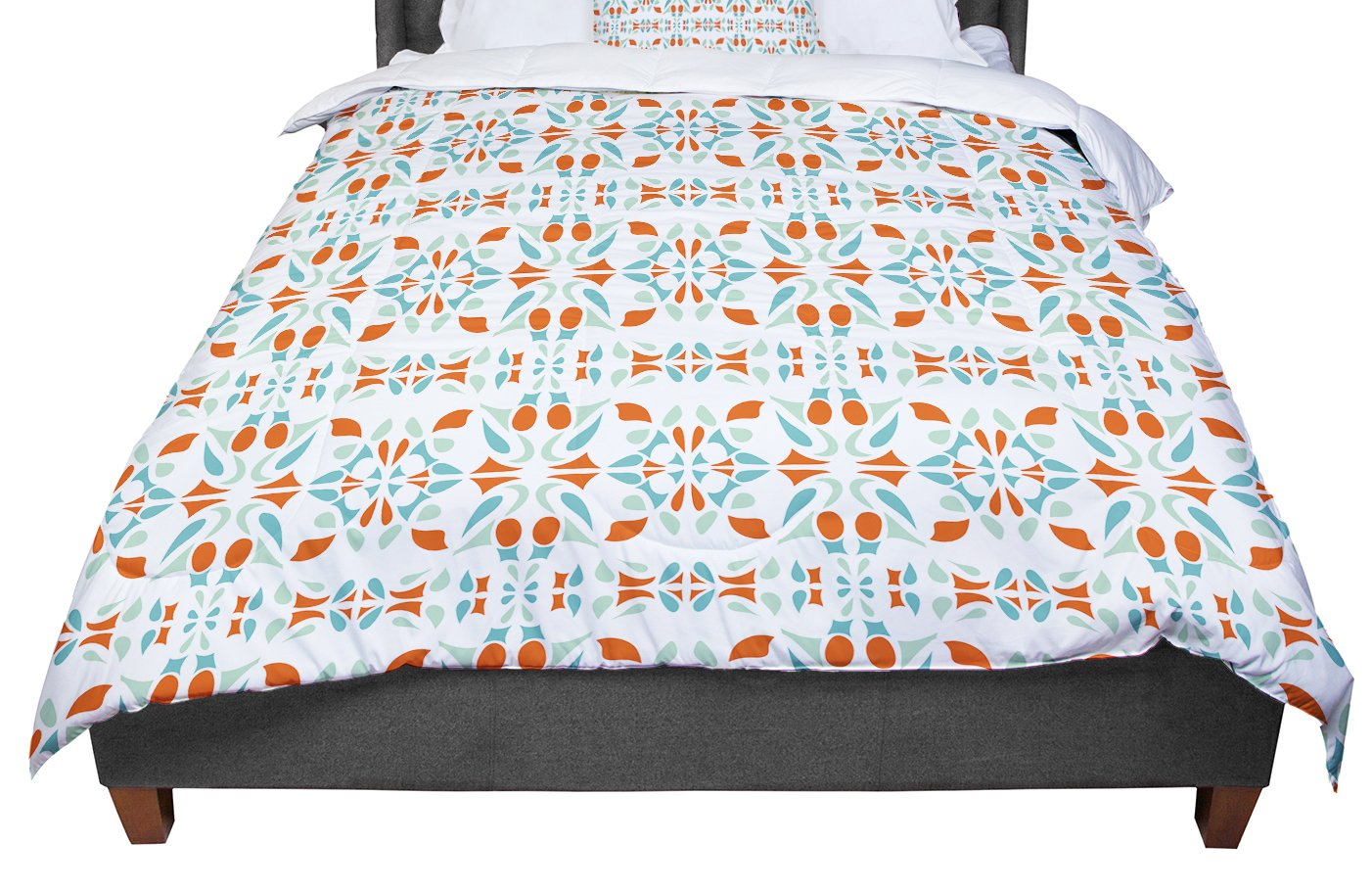 88 X 88 KESS InHouse Miranda Mol Italian Kitchen Orange Green Queen Comforter
