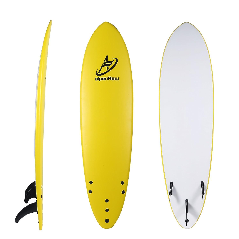 alpenflow 7 Tabla de Surf Suave Superior de Espuma, Tabla de Surf de Alto Rendimiento para la Playa con Correa de Tabla de Surf y Aletas de Surf: ...