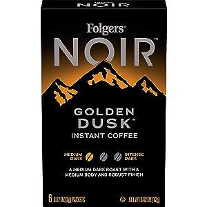 Folgers Noir Golden Dusk Medium Dark Roast Instant Coffee, 72 Single Serve Packets