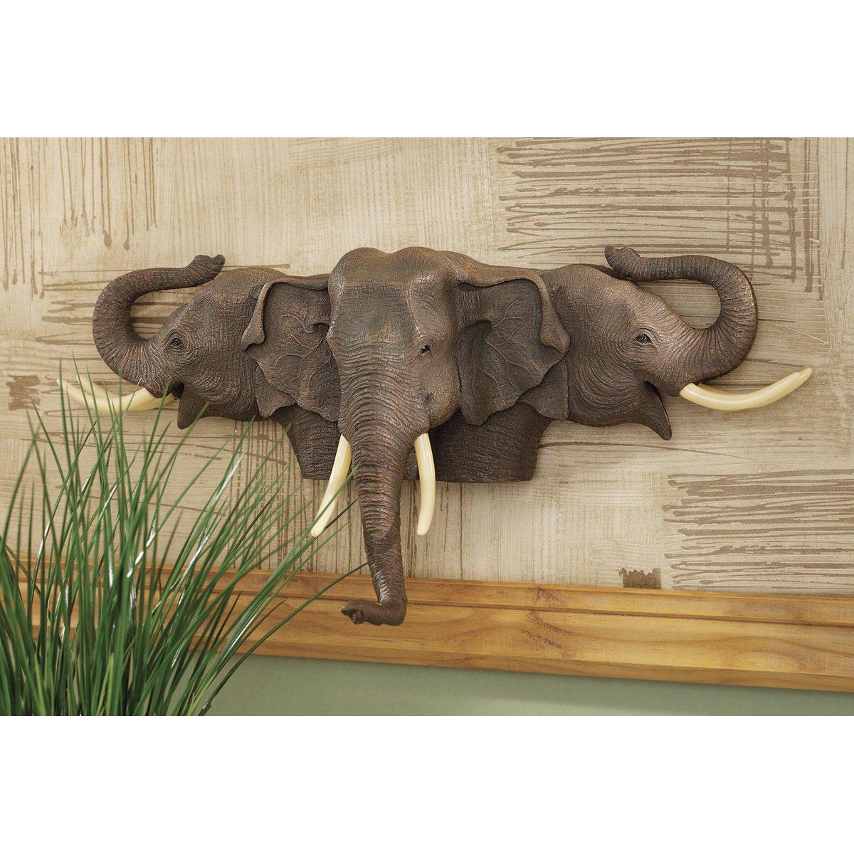 Elephant wall sculpture ornament head decor handmade
