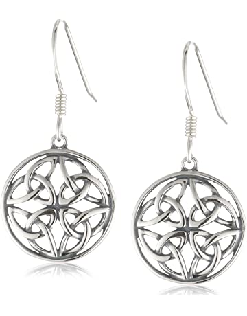 0c7c64f3f Sterling Silver Celtic Knot Round Drop Wire Earrings