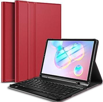 IVSO Teclado Estuche para Samsung Galaxy Tab S6 10.5 (QWERTY English), Slim Stand Funda con Removible Wireless Teclado para Samsung Galaxy Tab S6 SM-T860/T865 10.5 2019, Rojo: Amazon.es: Electrónica