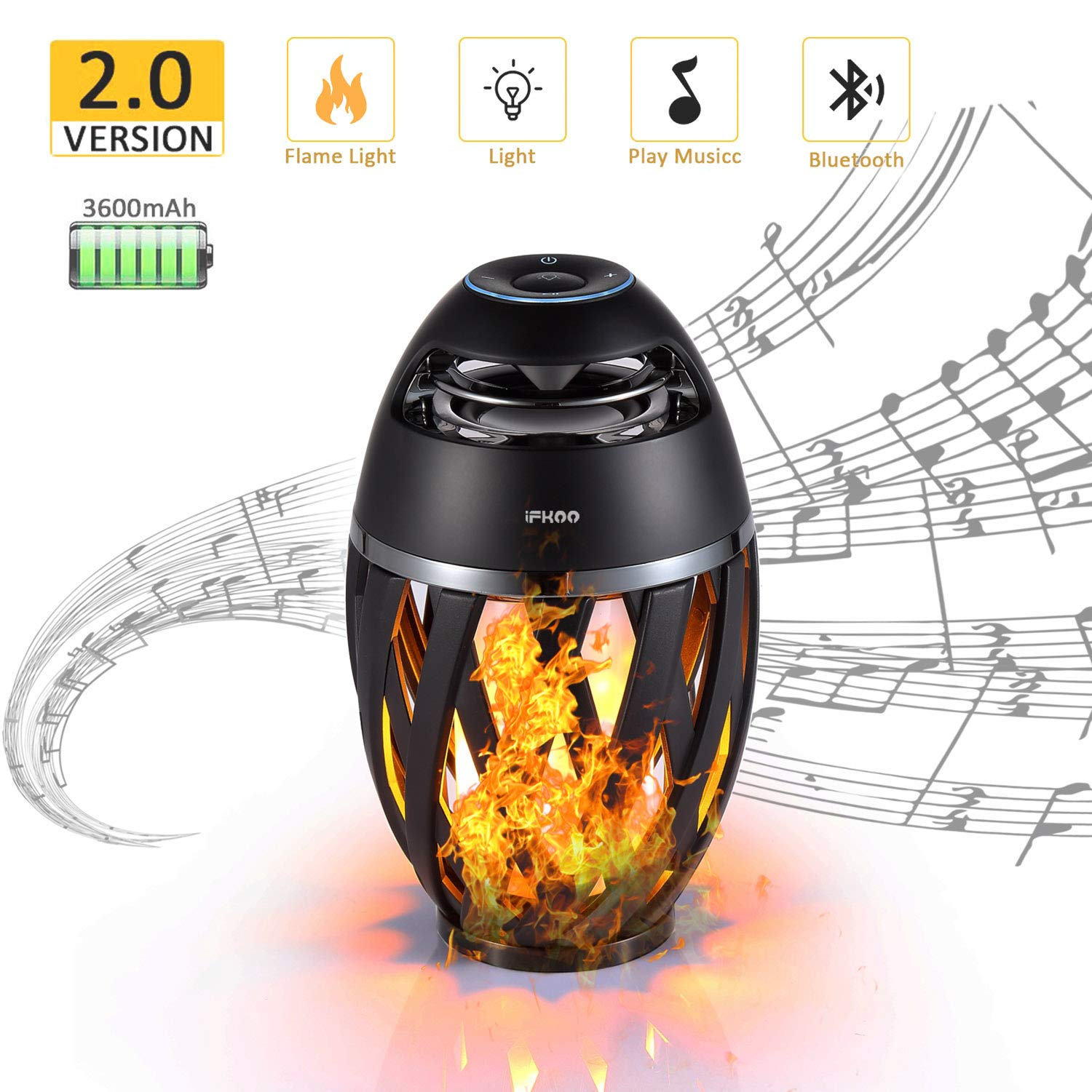 iFkoo Led Wireless Speaker, Flame Ambience Outdoor Speakers with Stereo Sound, Lantern Portable Bluetooth Speaker, Exclusive Bass Up, TWS Supported, Night Light Table Lamp BT 4.2 for iPhone Android