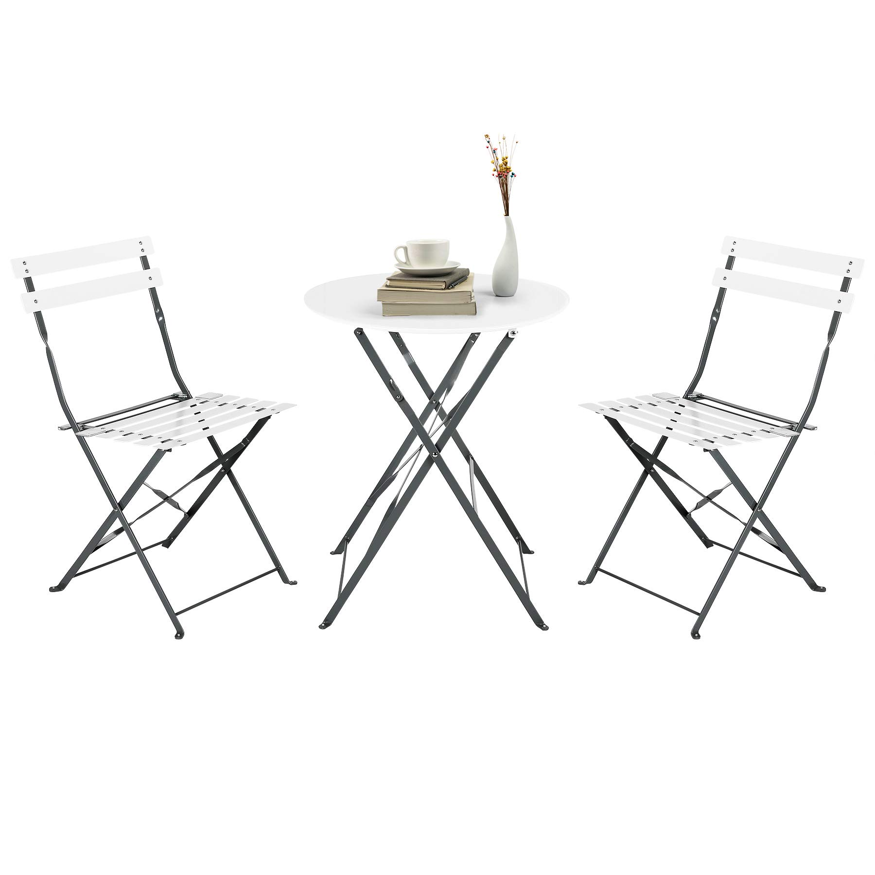 CO-Z Premium Steel Patio Bistro Set, Folding Outdoor Patio Furniture Sets, 3 Piece Patio Set of Foldable Patio Table and Chairs, White