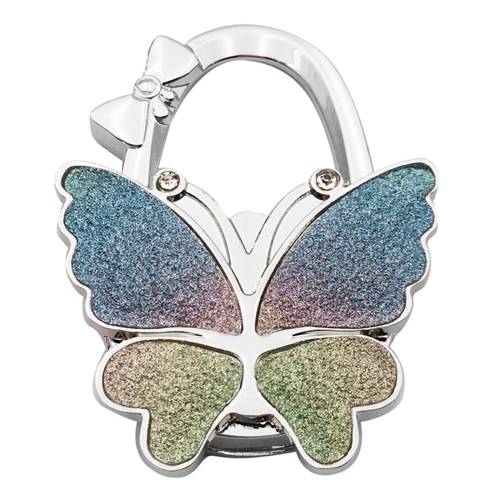 Grtdrm Butterfly Theme Designed Folding Handbag Purse Bag Hanger Table Hanger Hook Frosting)