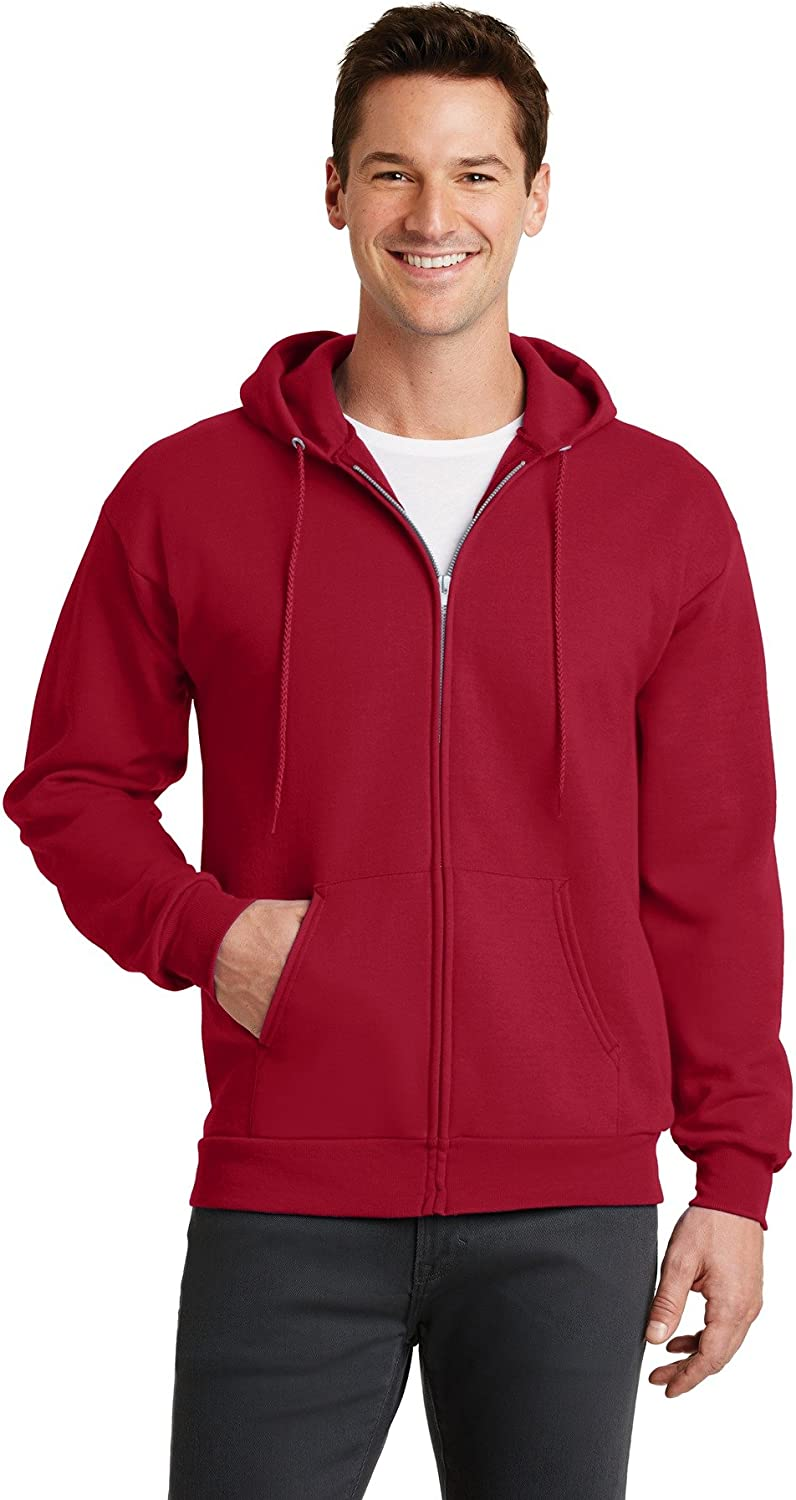 Port /& Company-Core Fleece Full-Zip Hooded Sweatshirt PC78ZH Red