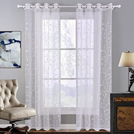 HOMTOD White Voile Curtains Embroidered Floral Sheer Window Eyelet Curtain Panels Single Panel 55 By 102