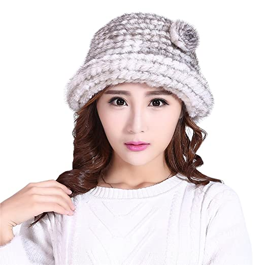 b51da2a1db8b5 Hand Knitted Women Hat Mink Fur Cap Mink Fur Hat Lady's Cap Winter ...