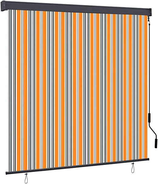 vidaXL Au/ßenrollo Handkurbelmechanismus Balkonrollo Senkrechtmarkise Sichtschutz Beschattung Sonnenschutz Au/ßen Rollo Balkon 140x250cm Orange Braun