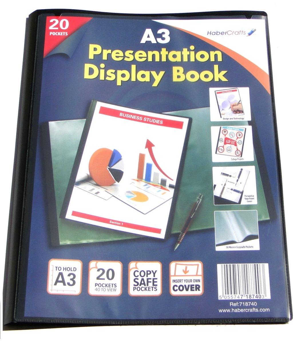 A3 Display Book 20 Pockets (40 Views) Hard Cover Presentation Folder Folio (1 Pack) Habercrafts
