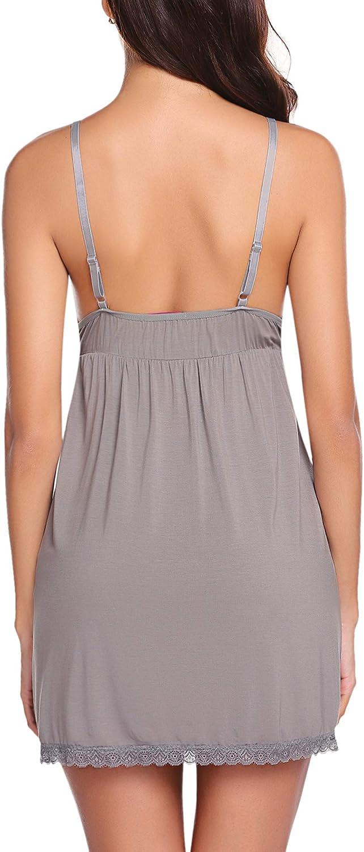 Avidlove Womens Modal Sleepwear Full Slips V Neck Chemise Nightwear Lace Lingerie