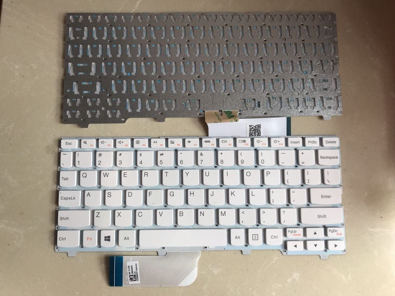 Replacement Keyboard Without Frame For Lenovo Ideapad 100S-11IBY 100S-11IBY - Type 80R2, US Layout White Color