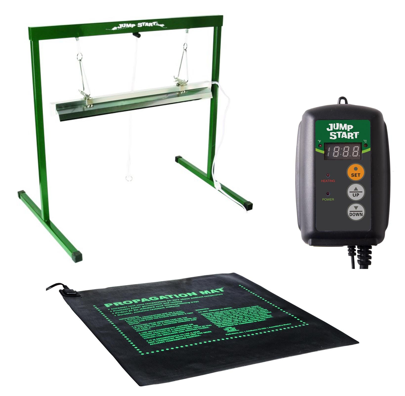 45W Seedling Heat Mat + Hydrofarm MTPRTC Temp Controller & JSV2 Lighting System by Hydrofarm
