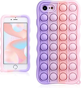 Coralogo Pink Purple Case for iPhone 7/8/SE 2020 Cartoon Funny Kawaii Cute Silicone Cover Stylish Fashion Unique Design Fidget Aesthetic for Girls Boys Kids Teen Cases (for iPhone 7/8/SE 2020 4.7