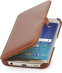 StilGut Housse pour Samsung Galaxy S6 Edge en Cuir véritable à Ouverture latérale, Cognac avec Clip