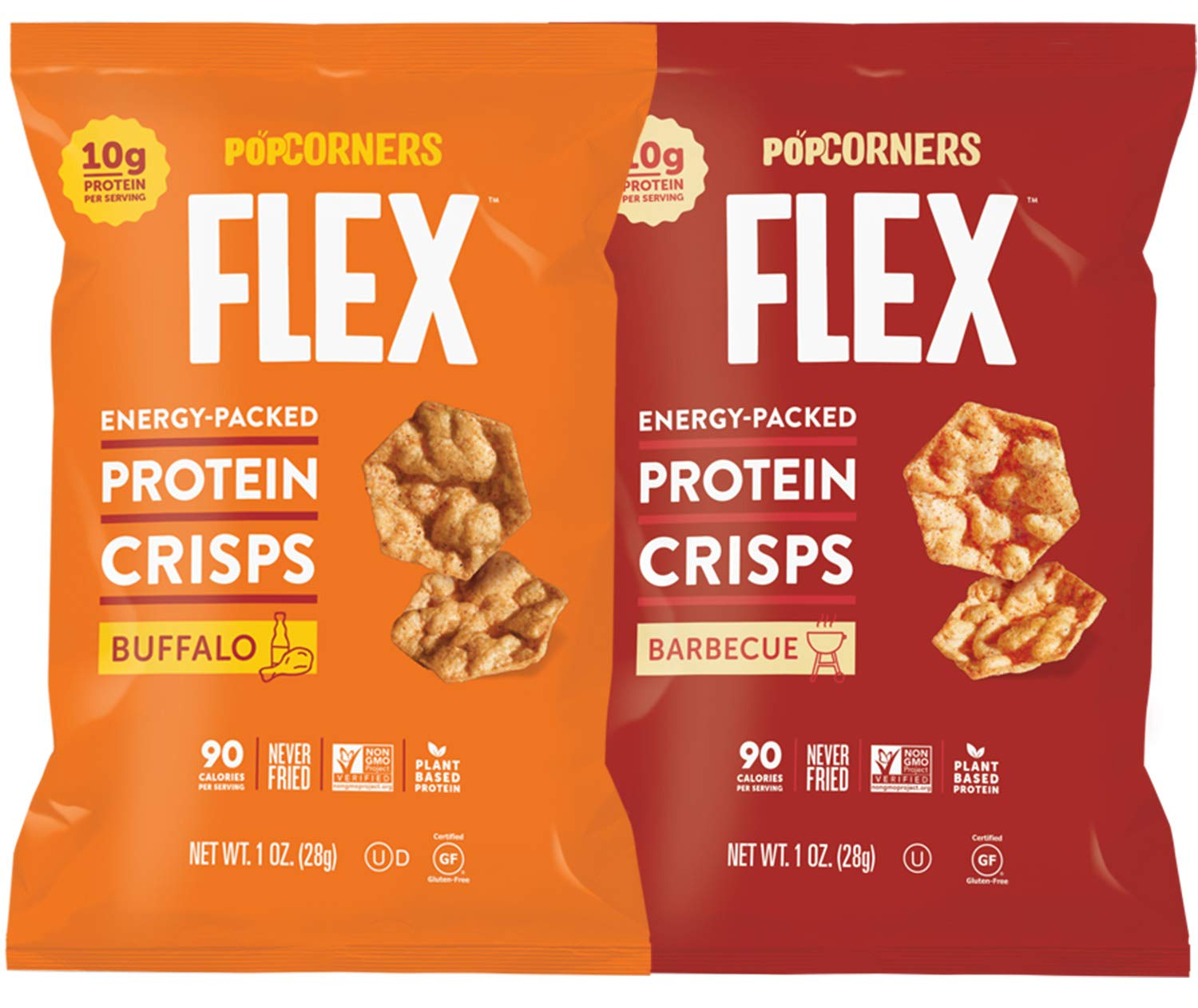 Protein Chips Variety Mix Sampler, Popped Protein Crisps, Hot Buffalo and Sweet & Smokey BBQ Flavored, Non-GMO and Certified Gluten Free 1.0 oz Bags by Variety Fun (10 Count)