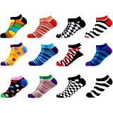WeciBor Men's 12 Pack Ankle Socks Dress Cool Colorful Fancy Novelty Funny Casual Combed Cotton Socks Pack