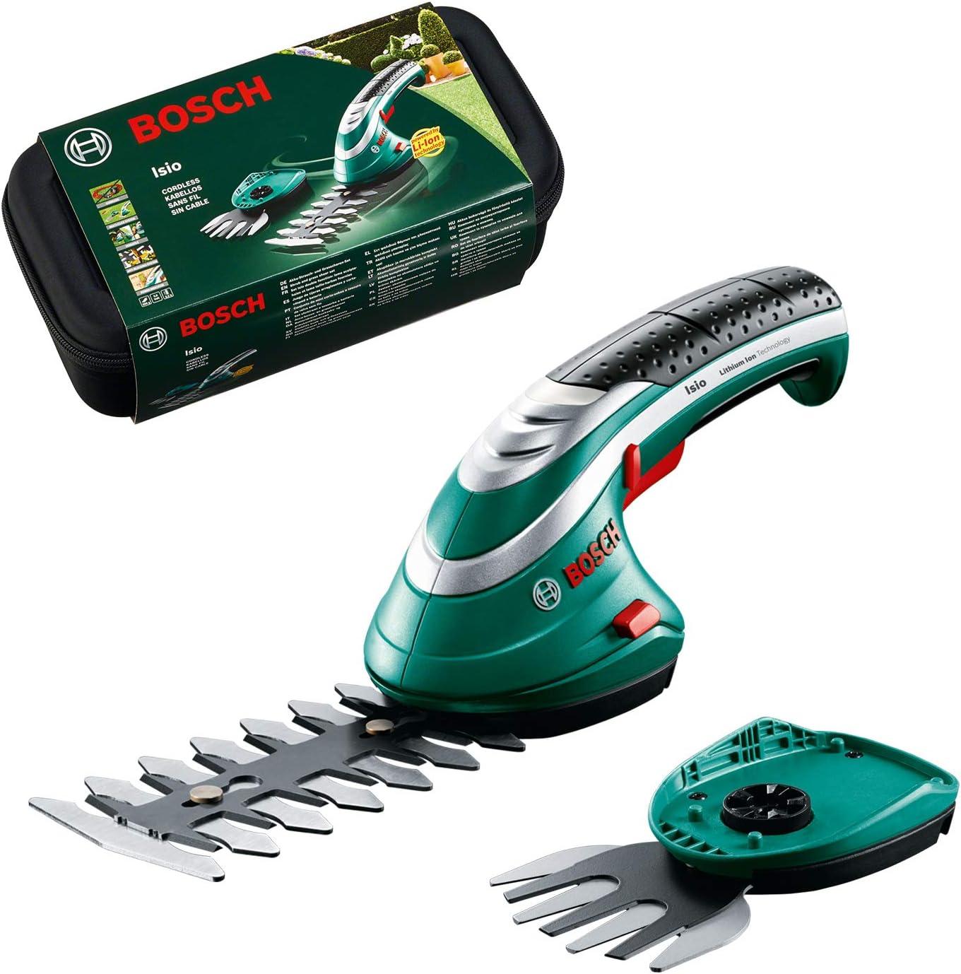 Bosch -Set de tijeras cortacésped a batería Isio (3.6V, longitud de cuchilla 12cm, distancia entre cuchillas 8mm, en caja)
