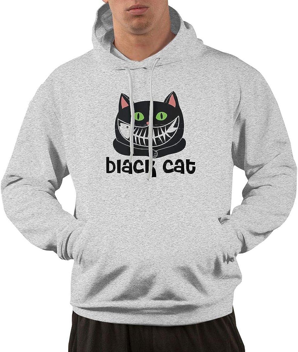 Black Cat Men Printed Pullover Long Sleeve Hooded Black Sweatshirts with Pockets
