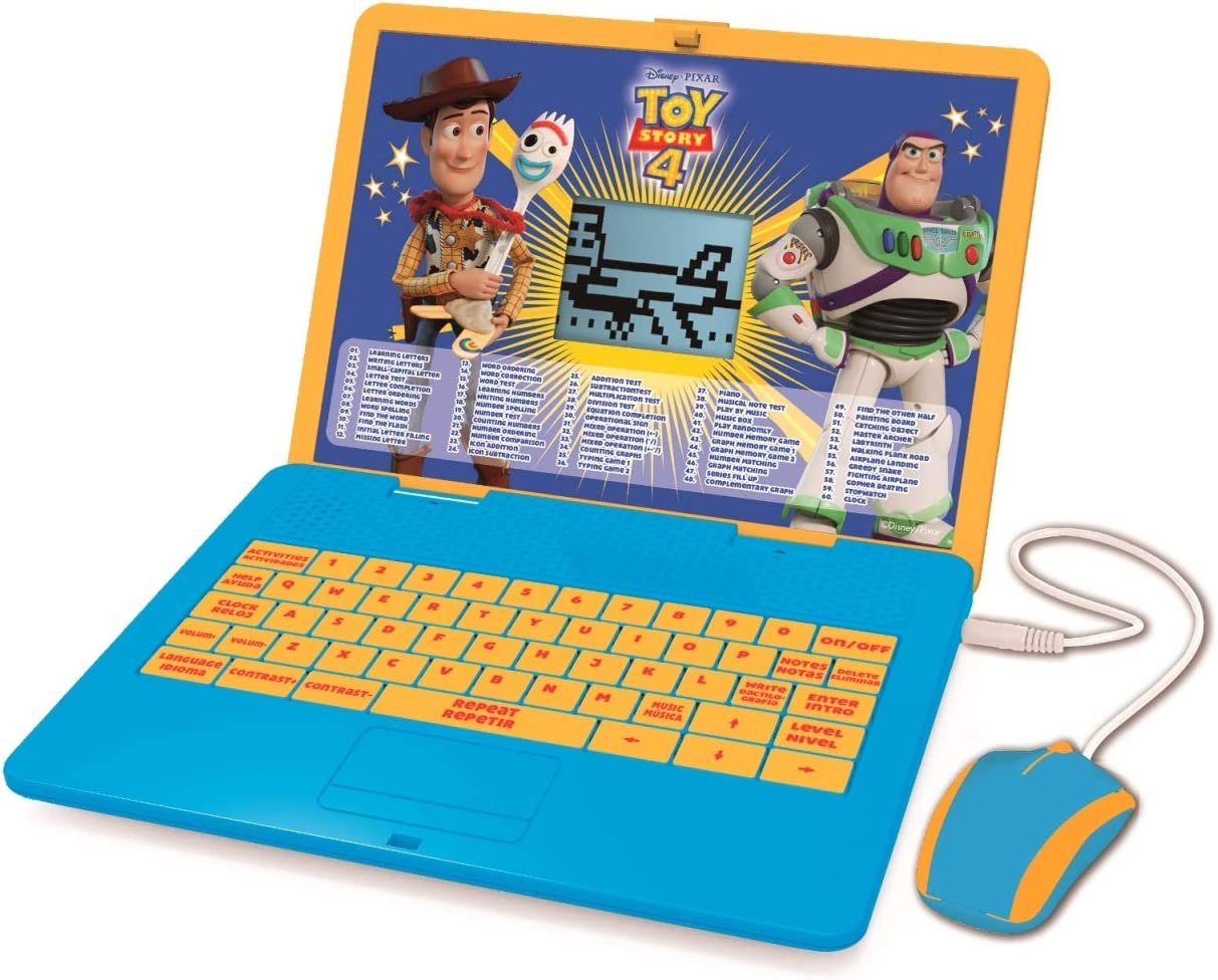 Lexibook Disney Toy Story 4 Woody Buzz Bilingual Educational Laptop, Learn and play-120 Activities to Discover Mathematics, Music, Knowledge, Logic, Games-French/English, JC595TSi1 Blue/Yellow