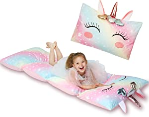 Yoweenton Unicorn Kids Floor Pillows Bed Seat Cover Queen Size Fold Out Lounger Chair Bed for Boys Girls Floor Cushion for Kids Room Decoration Pink Cover ONLY
