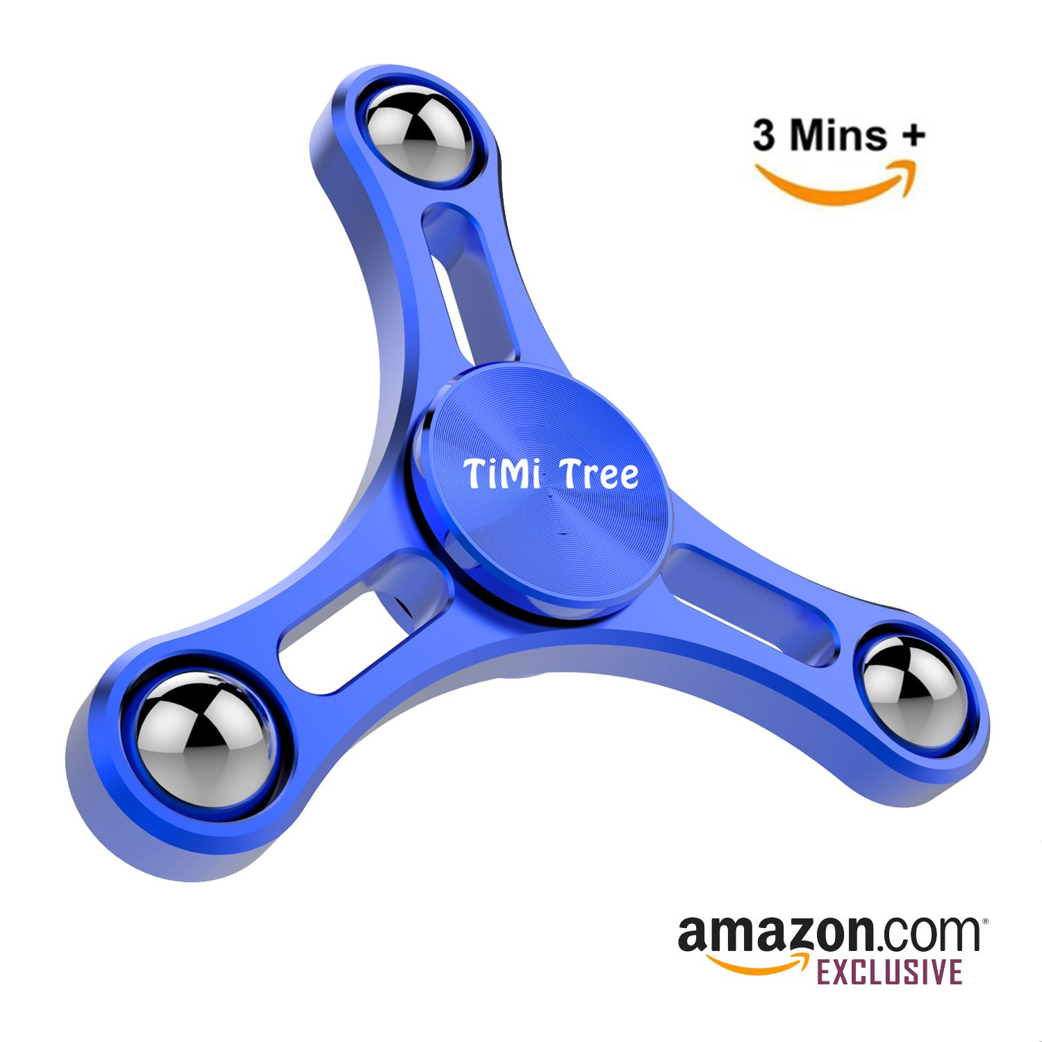 Fidget Tri-Spinner Toy Novelty Spinning Top Pressure Relief Gadget Newest Design Balance System Min 2 mins Spinning - by TiMi Tree (Blue)