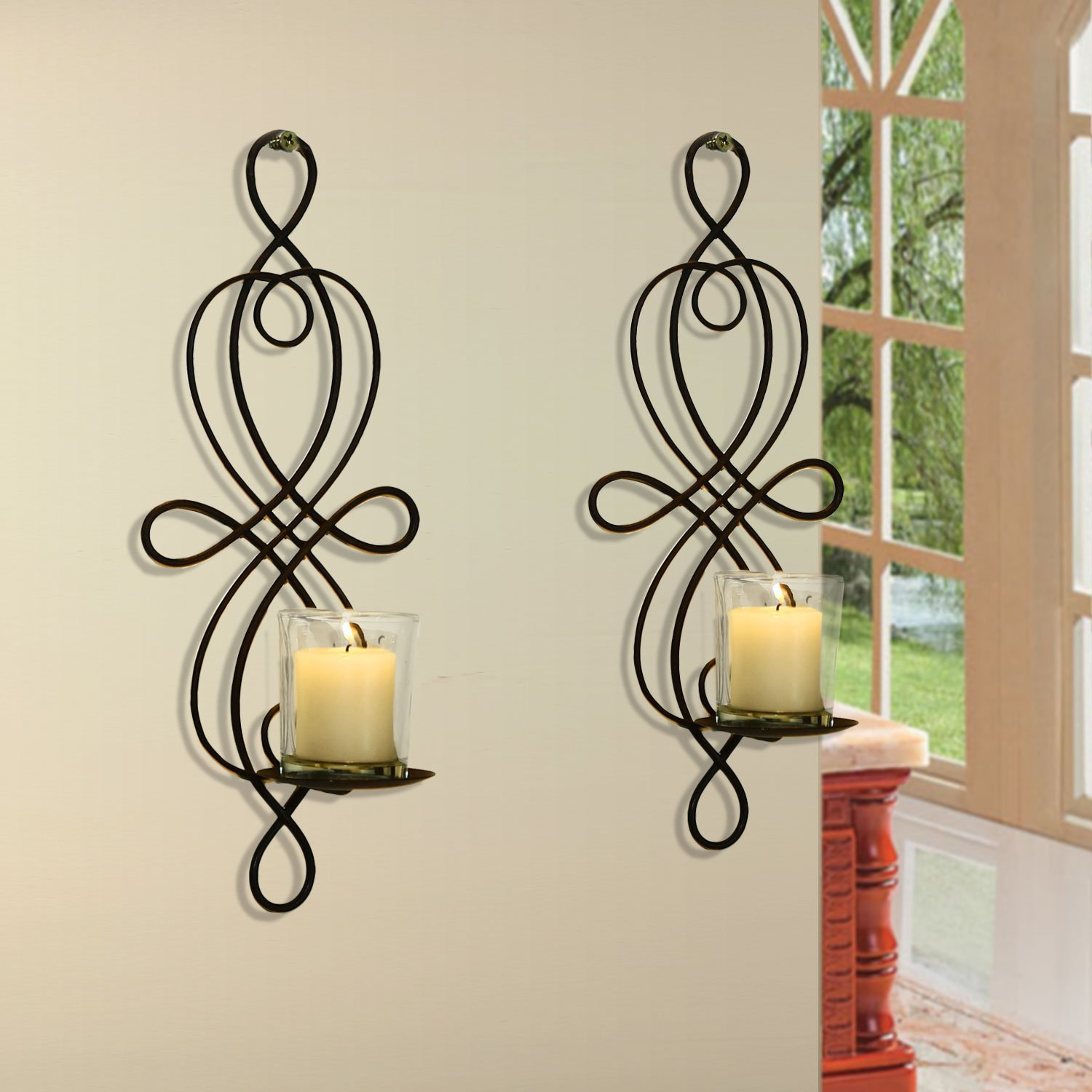 Adeco Iron and Glass Vertical Wall Hanging Scroll and Fleur De Lis Design 1 Pillar Candle Holder Sconce HD0003
